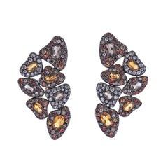 Bucherer Gold Diamond Sapphire Citrine Cocktail Earrings