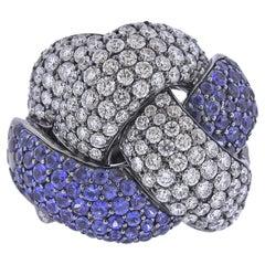 Bucherer Gold Diamond Sapphire Dome Ring