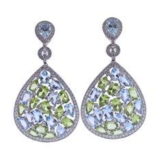 Bucherer Gold Diamond Topaz Peridot Drop Earrings