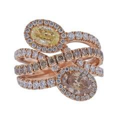 Bucherer Gold Fancy Yellow Brown Diamond Ring
