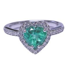 Bucherer Gold Heart Emerald Diamond Ring