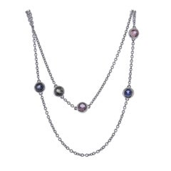 Bucherer Gold Multi Sapphire Long Station Necklace