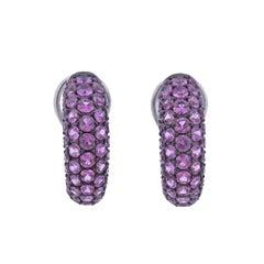 Bucherer Gold Pink Sapphire Half Hoop Earrings