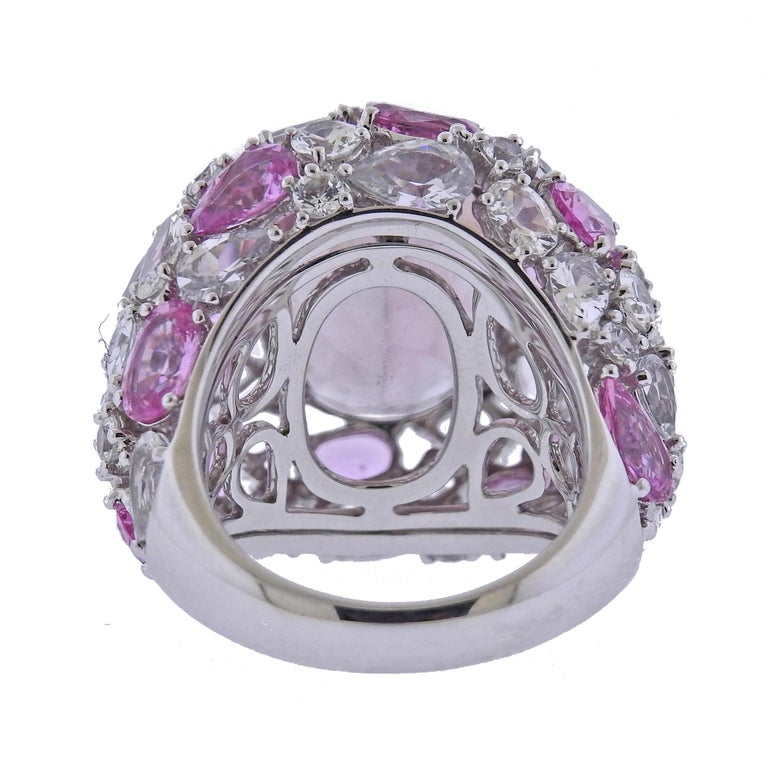 Oval Cut Bucherer Gold Pink Tourmaline Sapphire Cocktail Ring For Sale
