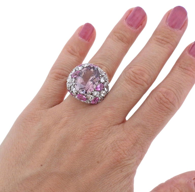 Bucherer Gold Pink Tourmaline Sapphire Cocktail Ring In New Condition For Sale In Boca Raton, FL