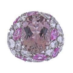 Bucherer Gold Pink Tourmaline Sapphire Cocktail Ring