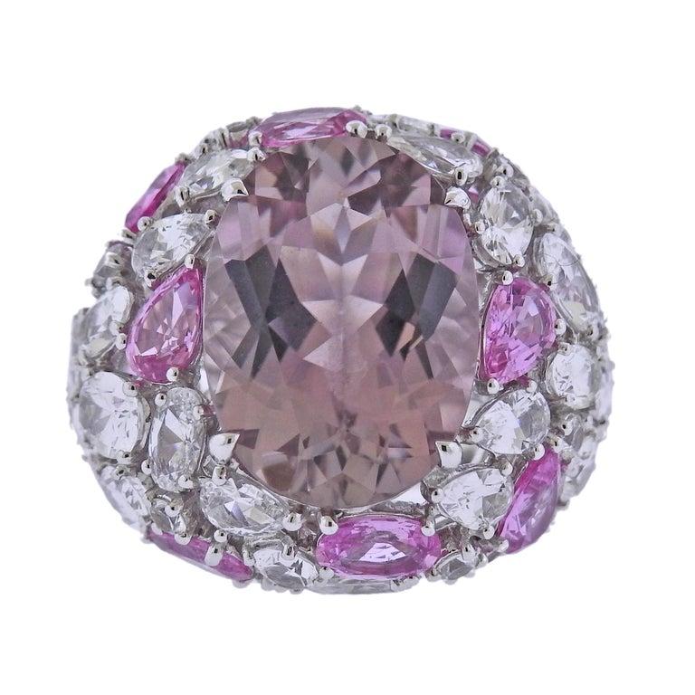 Bucherer Gold Pink Tourmaline Sapphire Cocktail Ring For Sale