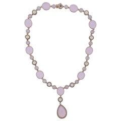 Bucherer Gold Quartz Chalcedony Prehnite Diamond Necklace
