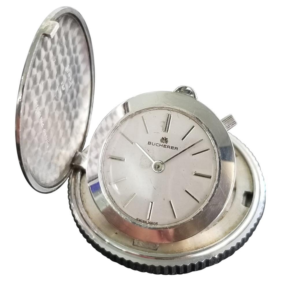 Bucherer Hidden Travel Clock 925 Solid Silver, c.1950s Swiss Vintage MA141