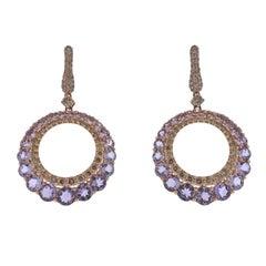 Bucherer Rose Gold Diamond Amethyst Drop Earrings