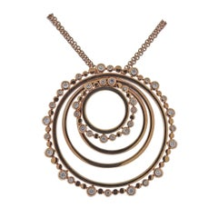 Bucherer Rose Gold Diamond Circle Pendant Necklace