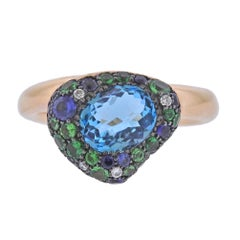 Bucherer Rose Gold Diamond Topaz Sapphire Ring