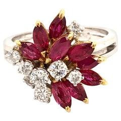 Bucherer Ruby and Diamond Ring in 18 Karat White and Yellow Gold