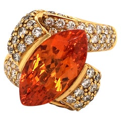 Bucherer Spessartine and Diamond 18 Karat Yellow Gold Ring