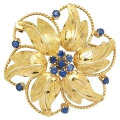 Bucherer Switzerland, Yellow Gold Floral Brooch with Sapphires, ca 1960