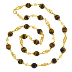 Bucherer Tiger's Eye and Gold 32 inch long Gold Necklace