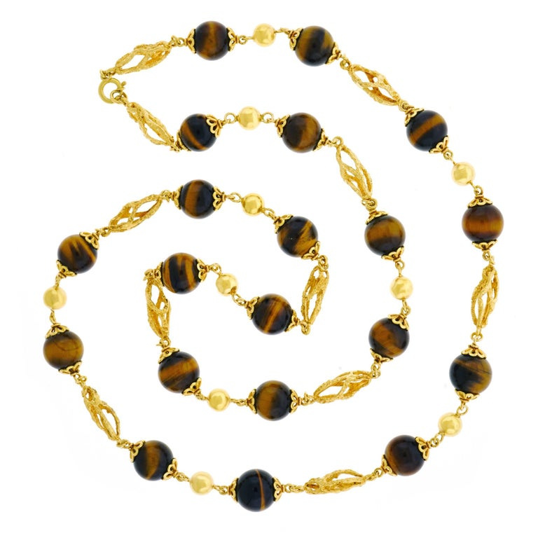 Bucherer Tiger's Eye and Gold 32 inch long Necklace