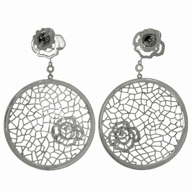 Women's Bucherer White Gold Floral Drop Earrings For Sale