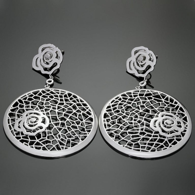 Bucherer White Gold Floral Drop Earrings For Sale 1