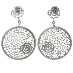 Bucherer White Gold Floral Drop Earrings