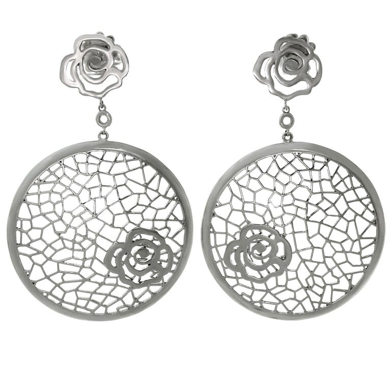Bucherer White Gold Floral Drop Earrings For Sale