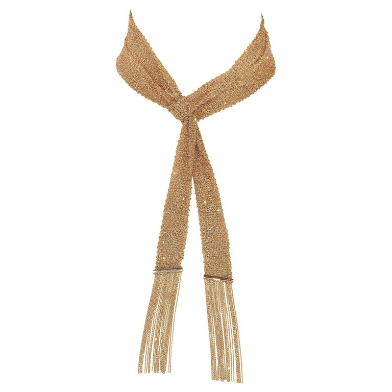 Boucheron Paris Delilah Rose Gold Vintage Long Scarf Necklace For Sale
