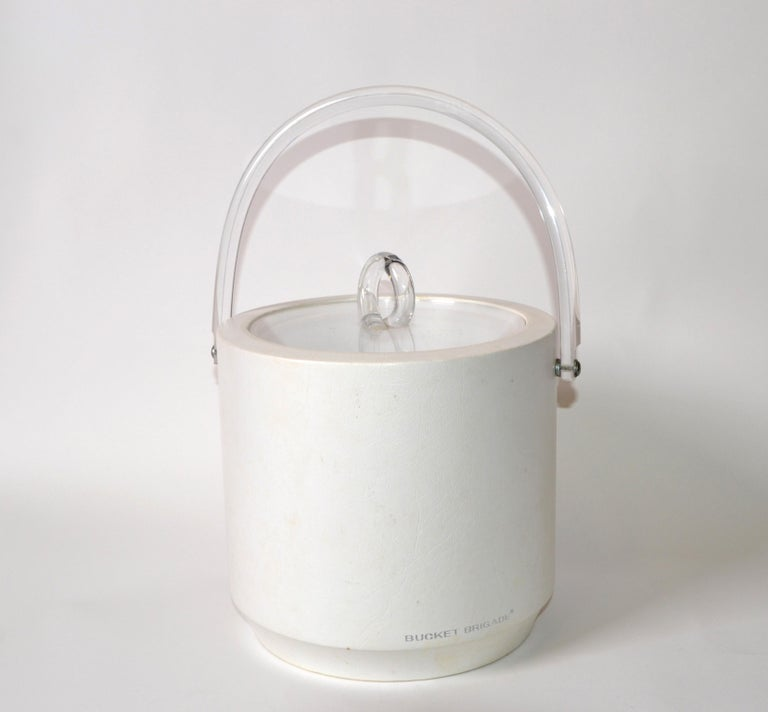 Bucket Brigade 1970 Mid-Century Modern White Leather & Lucite Lidded Ice Bucket For Sale 4