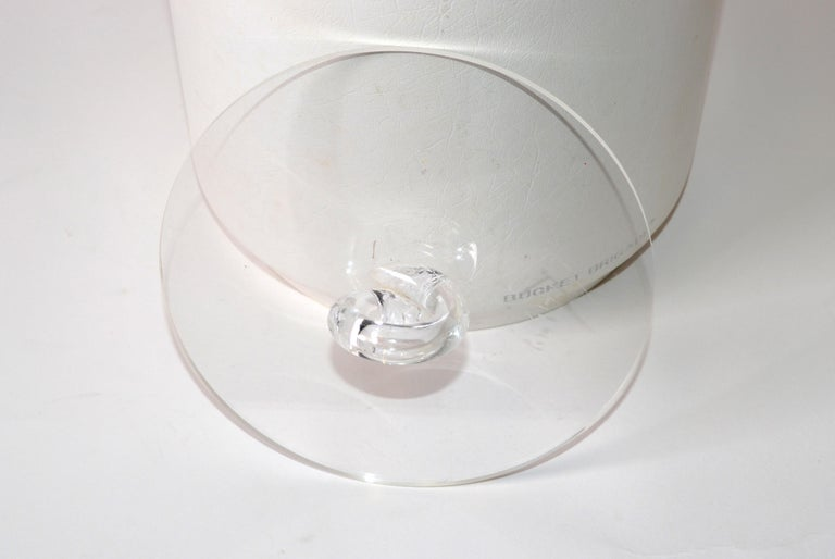 American Bucket Brigade 1970 Mid-Century Modern White Leather & Lucite Lidded Ice Bucket For Sale