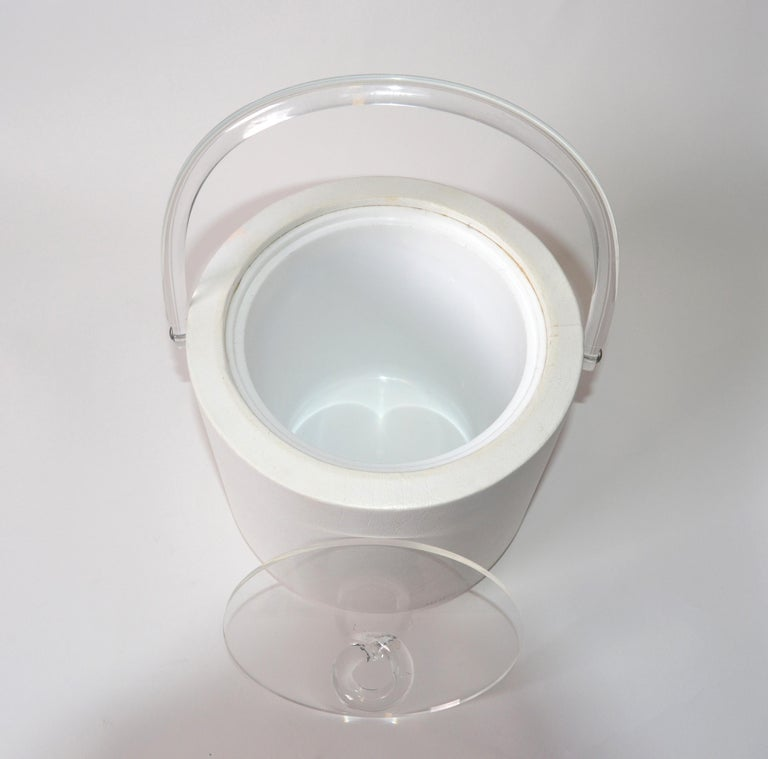 Late 20th Century Bucket Brigade 1970 Mid-Century Modern White Leather & Lucite Lidded Ice Bucket For Sale
