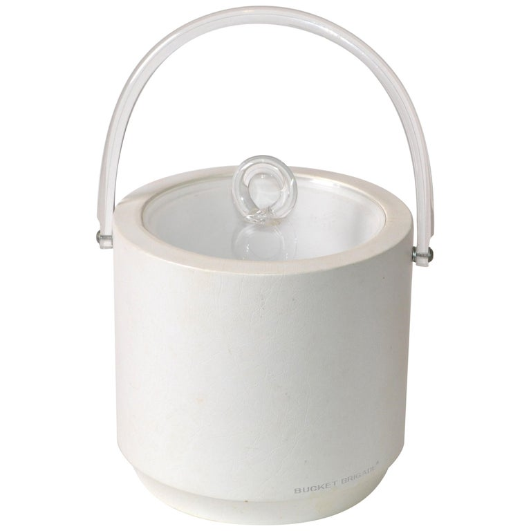 Bucket Brigade 1970 Mid-Century Modern White Leather & Lucite Lidded Ice Bucket For Sale