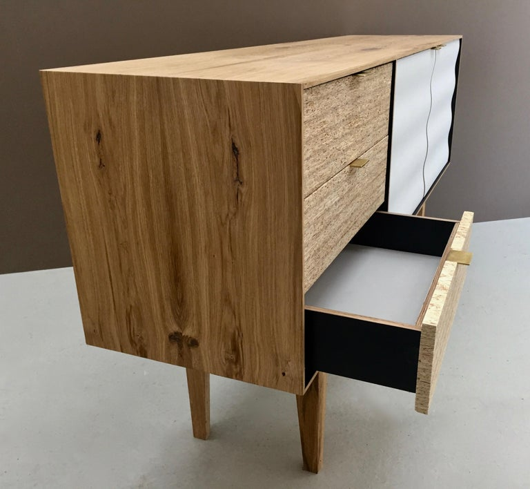 Buckhurst Sideboard oak veneered plywood with hand shaped curry/grey doors. For Sale 3