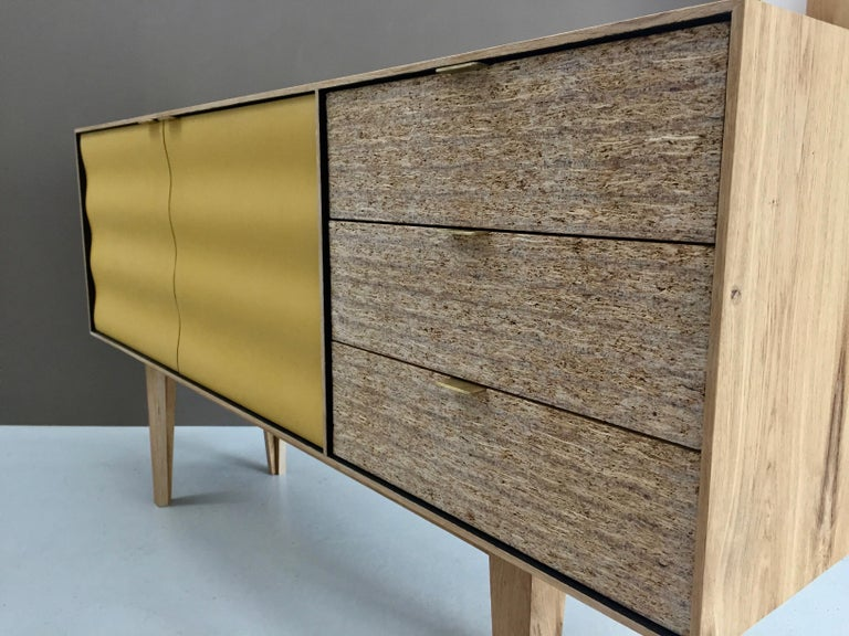 Hand-Crafted Buckhurst Sideboard oak veneered plywood with hand shaped curry/grey doors. For Sale