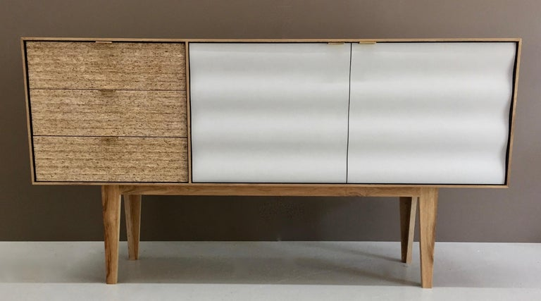 Plywood Buckhurst Sideboard oak veneered plywood with hand shaped curry/grey doors. For Sale