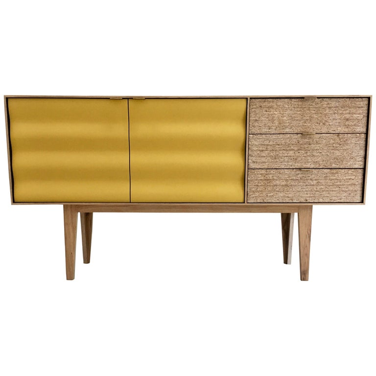 Buckhurst Sideboard oak veneered plywood with hand shaped curry/grey doors. For Sale