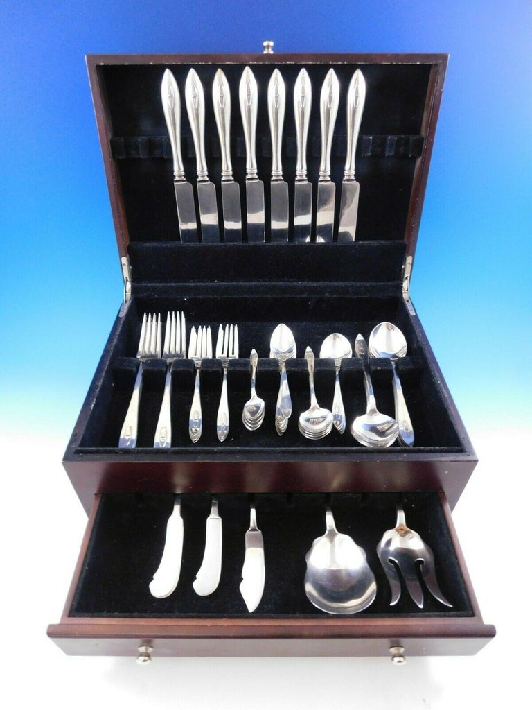 Superb Arts & Crafts BUCKINGHAM NARROW, sterling silver DINNER SIZE flatware set, 67 Pieces. This pattern is by SHREVE & CO. of San Francisco, circa 1915. This set includes:  8 Dinner Size Knives, 9 3/4