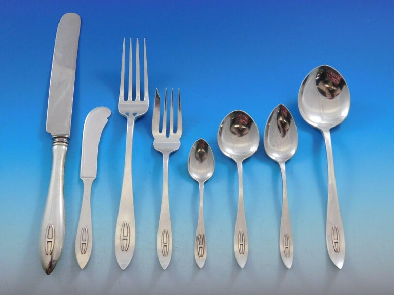 Arts and Crafts Buckingham Narrow by Shreve Sterling Silver Flatware Set Service 67pc H Monogram For Sale