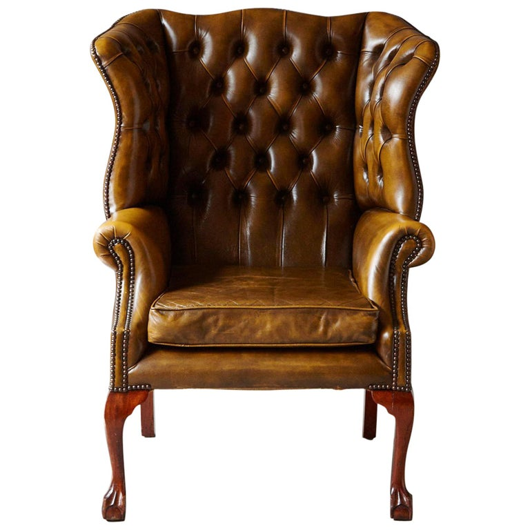 Buckingham Walnut Burnished Leather Wingback Chair By