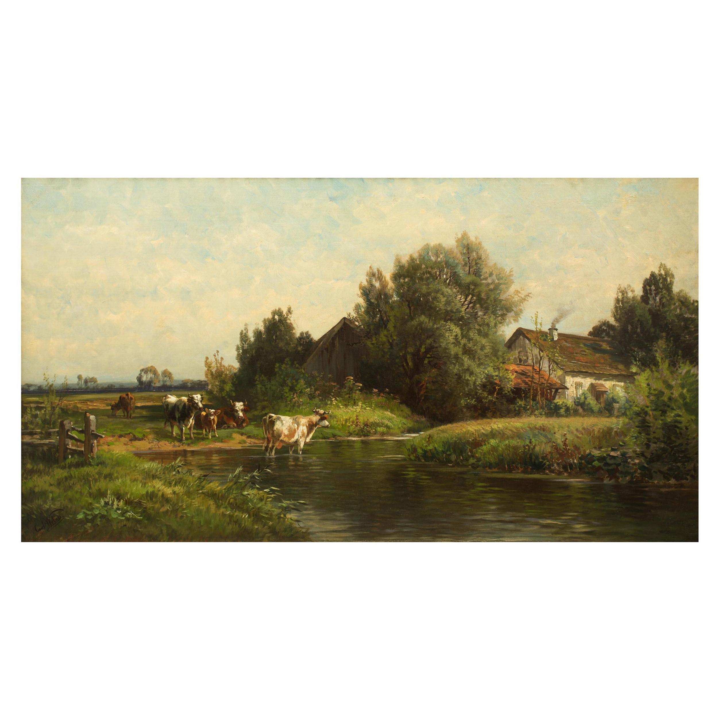 Bucolic Landscape Painting of Cattle by Carl Weber