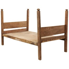 Bucolic Vintage Brazilian Cowhide and Wood Frame Single Size Day Bed