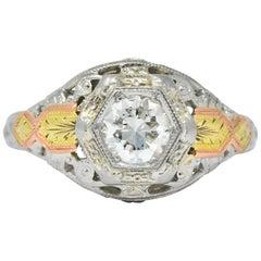 Bud & Blossom Art Deco Diamond 14 Karat Tri-Colored Gold Engagement Ring