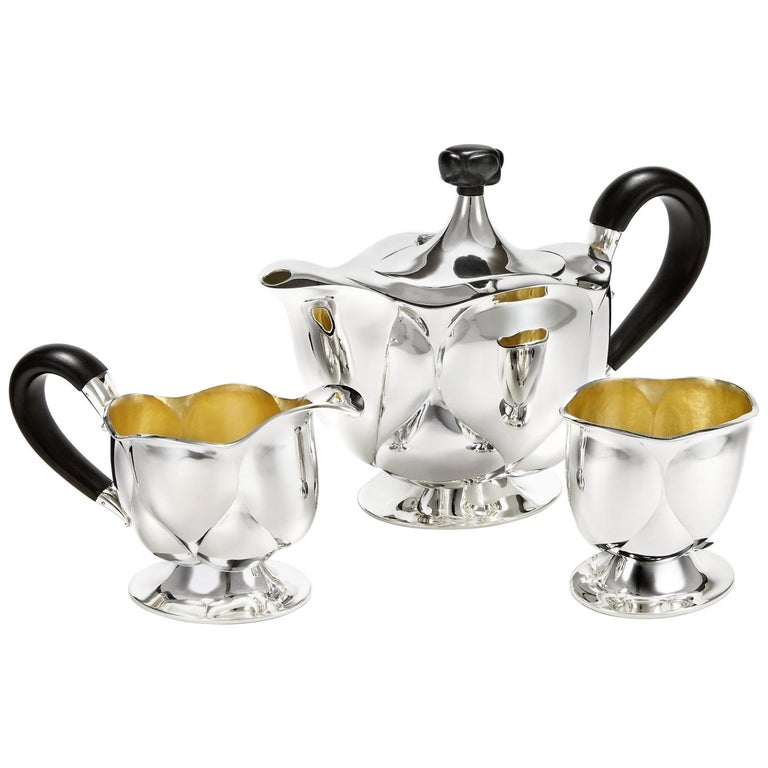 Bud Service Set in Solid Silver by Otto Prutscher For Sale