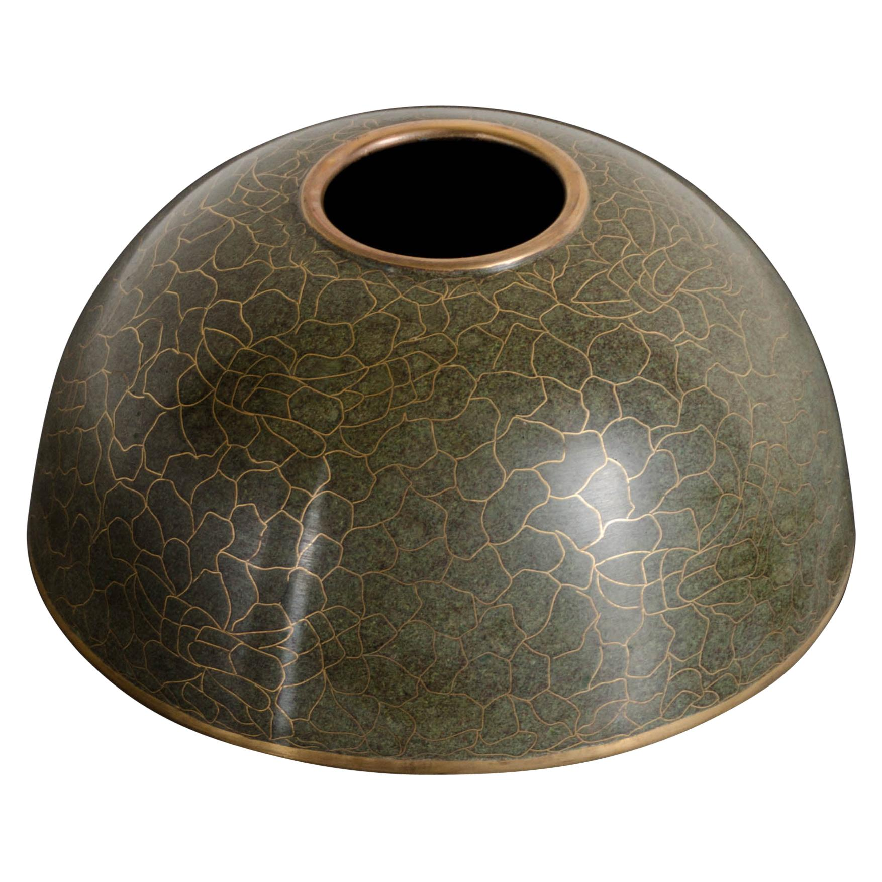 Bud Vase, Verde, Web Design by Robert Kuo, Cloisonne, Limited Edition