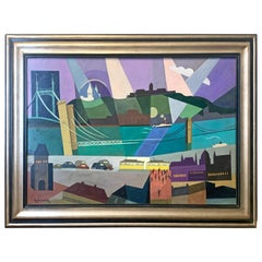 """Budapest along the Danube,"" Vivid 1930s Cubist Painting in Blues and Purple"