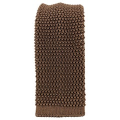 BUDD Cool Brown Silk Textured Knit Tie
