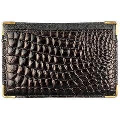 BUDD LEATHER Alligator Embossed Black Leather Metal Edge Card Ticket Case Wallet