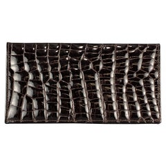 BUDD LEATHER Embossed Alligator Dark Brown Leather Rectangle Wallet