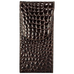 BUDD LEATHER Embossed Alligator Dark Brown Leather Sunglass Case Pouch