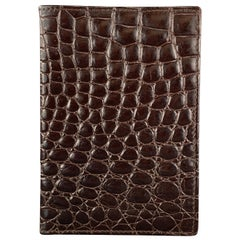 BUDD LEATHER Embossed Alligator Dark Brown Leather Travel Passport Holder