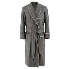 Budd luxury Grey Wool Wrap dressing gown SIZE S