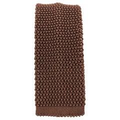 BUDD Warm Brown Silk Textured Knit Tie